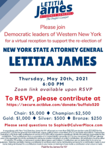 Join Democratic Leaders of WNY to support the re-election of NYS AG Tish James!