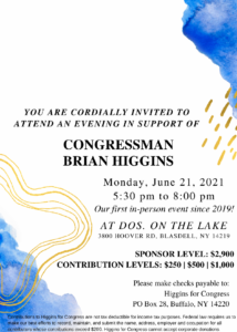 Join Congressman Brian Higgins for an Evening on Lake Erie @ DOS. On the Lake